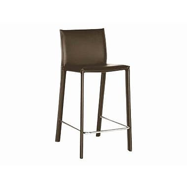 Baxton Studio Crawford Leather Low Back Bar Stool, Brown