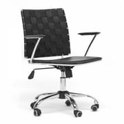 Baxton Studio ALC-1866C-BK-OC Vittoria Leather Task Chair with Fixed Arms, Black