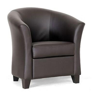 Baxton Studio Anderson Faux Leather Modern Club Chair, Dark Brown