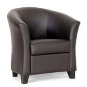 Baxton Studio Anderson Faux Leather Modern Club Chair, Dark Brown