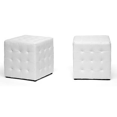 Baxton Studio Siskal Faux Leather Modern Cube Ottoman, White