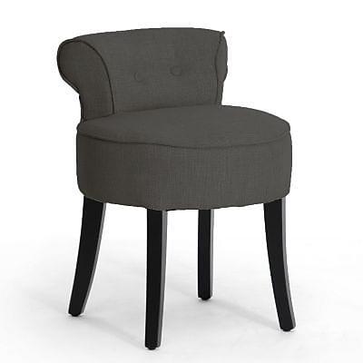 Baxton Studio Linen Fabric Lounge Stool, Dark Gray