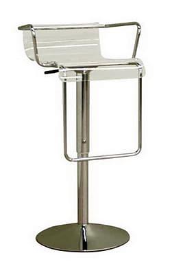 Baxton Studio Russell Acrylic Adjustable Bar Stool, Clear