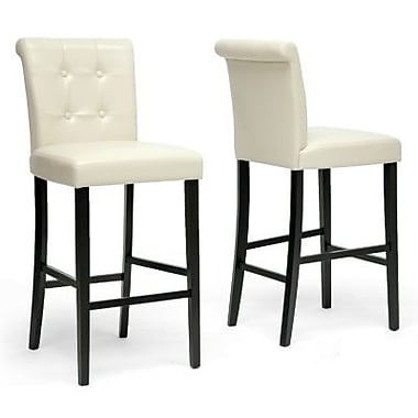 Baxton Studio Torrington Faux Leather Bar Stool, Cream