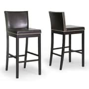 Baxton Studio Graymoor Faux Leather Bar Stool, Dark Brown
