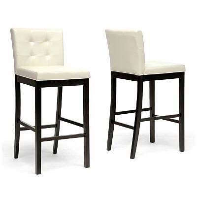 Baxton Studio Prospect Faux Leather Bar Stool; Cream, 2/Set