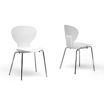 Baxton Studio Boujan Plastic Modern Dining Chair, White, 2/Set