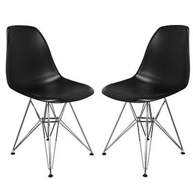 Baxton Studio Plastic Armless Chair, White, 2/Set (DC-231-Black)