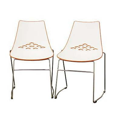 Baxton Studio Jupiter Molded Plastic Modern Dining Chair, White and Orange