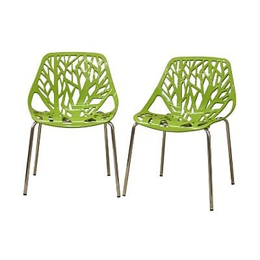 Baxton Studio Birch Sapling Accent Chair, Green, 2/Set (DC-451-Green)
