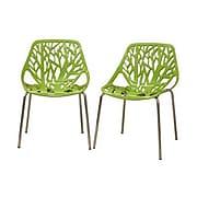Baxton Studio Birch Sapling Plastic Modern Dining Chair, Green, 2/Set
