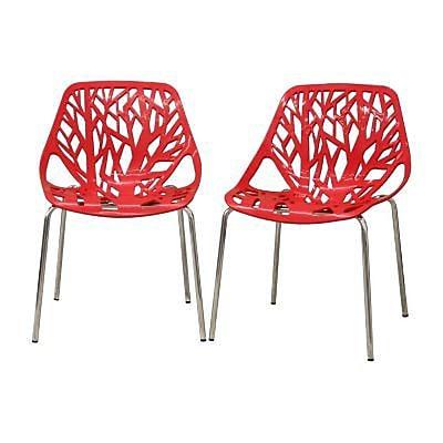 Baxton Studio Birch Sapling Plastic Modern Dining Chair, Red, 2/Set