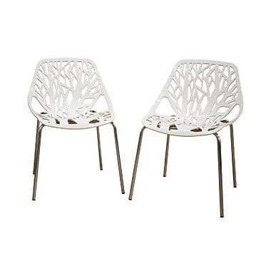 Baxton Studio Birch Sapling Accent Chair, White, 2/Set (DC-451-White)