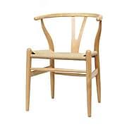 Baxton Studio Wishbone Natural Wood Dining Chair, Brown