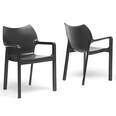 Baxton Studio Limerick Plastic Stackable Modern Dining Chair, Black
