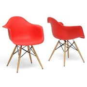 Baxton Studio Pascal Shell Chair, Red, 2/Set (DC-866-Red)