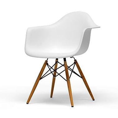 Baxton Studio Pascal Plastic Arm Chair, White, 2/Set (DC 866