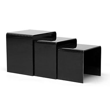 Baxton Studio Aville Acrylic Nesting Tables Display Stands, Black