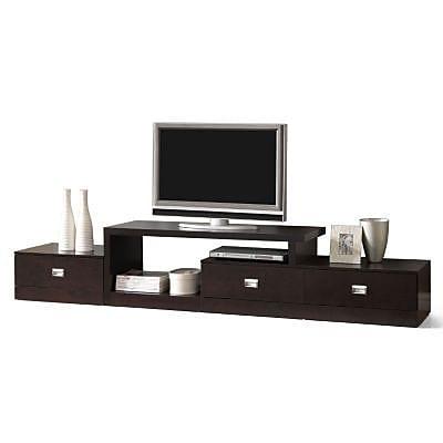Baxton Studio Marconi Asymmetrical Modern TV Stand, Dark Brown