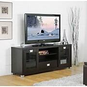 Baxton Studio Matlock Modern TV Stand With Glass Doors, Dark Brown
