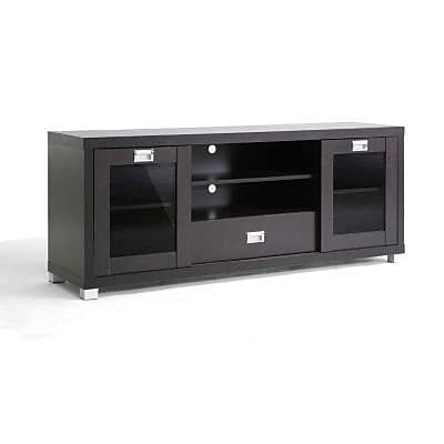 Baxton Studio Matlock Modern Tv Stand With Glass Doors Dark Brown