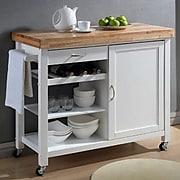 Baxton Studio Denver Modern Kitchen Cart; White/Natural