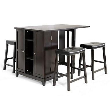 Baxton Studio Aurora Modern Pub Table Set With Cabinet Base, Black