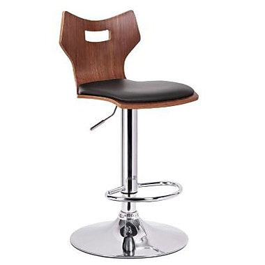 Baxton Studio Amery Faux Leather Modern Bar Stool, Walnut/Black