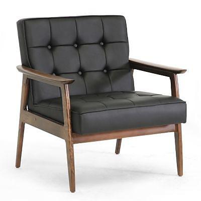 Baxton Studio Stratham Faux Leather Mid-Century Modern Club Chair, Black