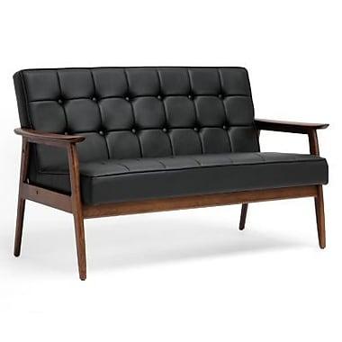 Baxton Studio Stratham Faux Leather Mid-Century Modern Sofa, Black