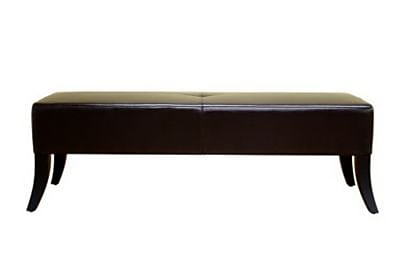 Baxton Studio Danilo Bonded Leather Bench Ottoman, Dark Brown