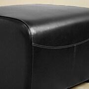 Baxton Studio Mendozza Bi-cast Leather Ottoman, Black