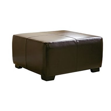 Baxton Studio Belmont Bi-cast Leather Large Square Cocktail Ottoman, Dark Brown