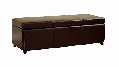 Baxton Studio Monroe Leather Large Storage Bench Ottoman, Dark Brown