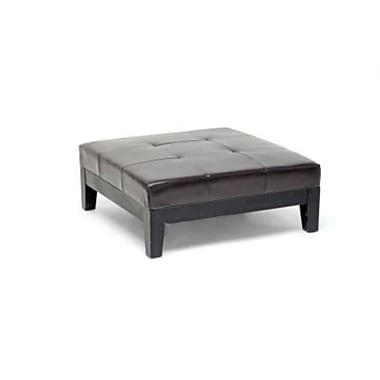 Baxton Studio Grant Leather Large Cocktail Ottoman, Dark Brown