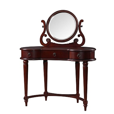Powell® Bombay Empress Solid Wood Vanity and Mirror, Vintage Mahogany