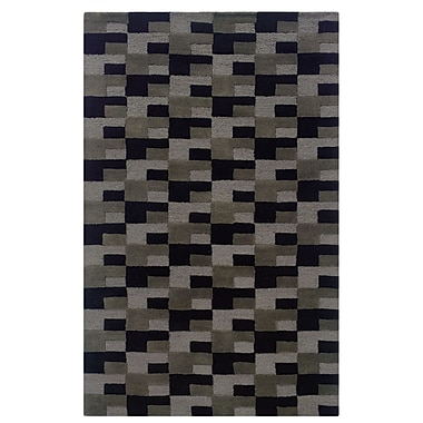 Powell® Bombay Zuma 5' x 8' Geometric Block Hand Tufted Rug, Gray