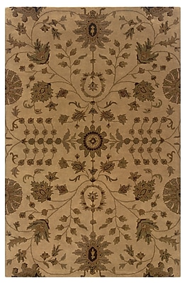 Powell® Bombay Bali 8' x 11' Traditional Hand Tufted Rug, Sand/Rust