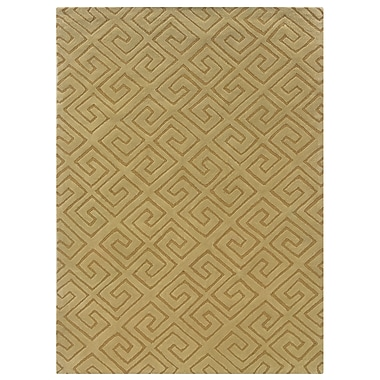 Powell® Bombay Fret 5' x 8' Greek Key Hand Tufted Rug, Yellow
