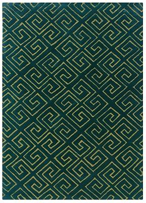 Powell® Bombay Fret 2' x 3' Greek Key Hand Tufted Rug, Navy