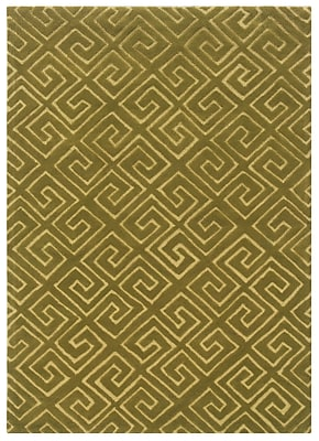 Powell® Bombay Fret 2' x 3' Greek Key Hand Tufted Rug, Green