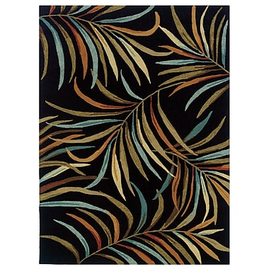 Powell® Bombay Lanai 8' x 11' Tropical Leaves Hand Tufted Rug, Black