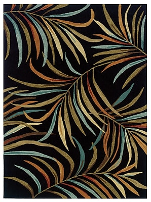 Powell® Bombay Lanai 2' x 3' Tropical Leaves Hand Tufted Rug, Black
