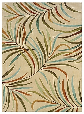 Powell® Bombay Lanai 8' x 11' Tropical Leaves Hand Tufted Rug, Ivory