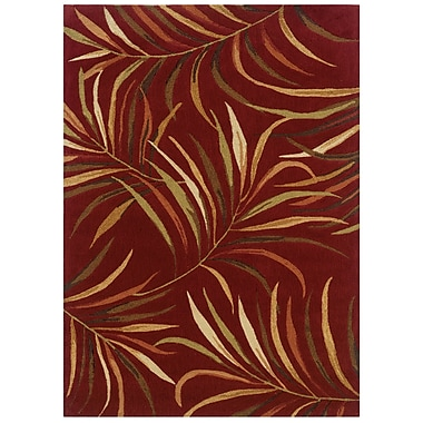 Powell® Bombay Lanai 5' x 8' Tropical Leaves Hand Tufted Rug, Red
