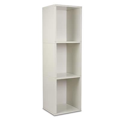 Way Basics Eco-Friendly 3 Shelf Narrow Bookcase Storage Shelf, White