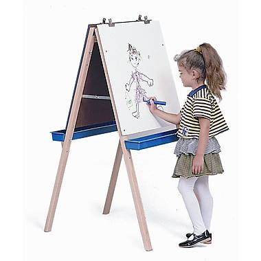 Whitney Brothers Adjustable Easel With Write and Wipe Board, Natural