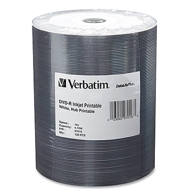 Verbatim 97016 DVD Recordable Media Spindle, DVD-R, 16X, 4.70GB, 100/Pack