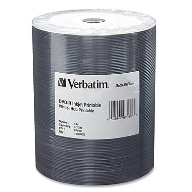 Verbatim – Cylindre de disques inscriptibles 97016 DVD, DVD-R, 16X, 4,7 Go, 100/paq.