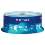 Verbatim 97457 Blu-Ray Recordable Media Spindle, Bd-R, 6X, 25GB, 25/Pack